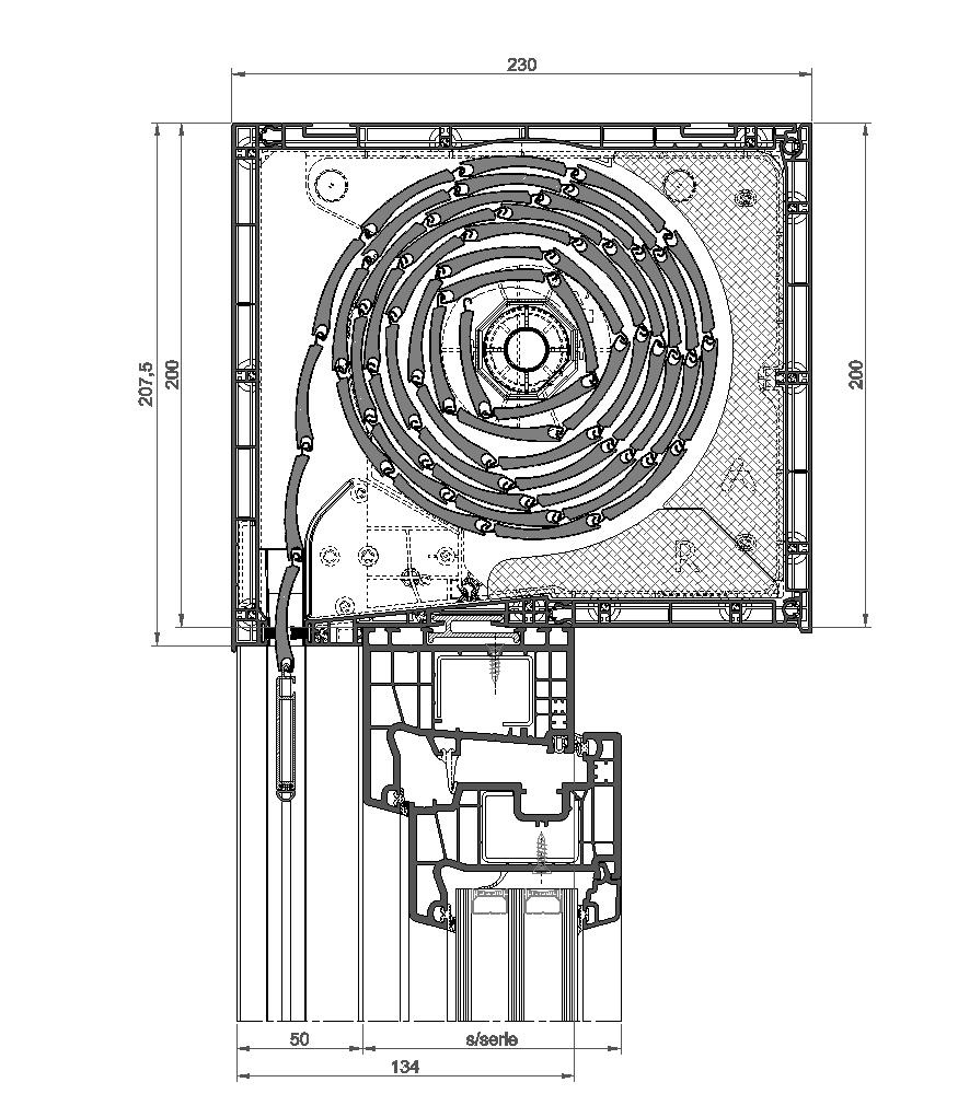 Sección del sistema Cajón de Persiana Cortizo Isolation